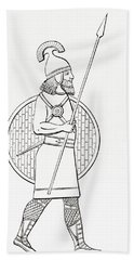 An Assyrian Spearman.  From The Imperial Bible Dictionary, Published 1889 Hand Towel