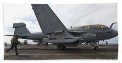 An Ea-6b Prowler Prepares To Launch Hand Towel