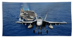 Hand Towel featuring the photograph An Fa-18 Hornet Demonstrates Air Power. by Paul Fearn