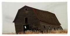 An Old Leaning Barn In North Dakota Bath Towel