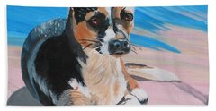 Hand Towel featuring the painting Ancho A Portrait Of A Cute Little Dog by Phyllis Kaltenbach