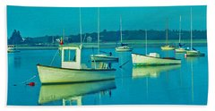 Hand Towel featuring the photograph Anchored In Maine by Gary Slawsky