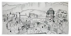 Bath Towel featuring the drawing Ancient City In Pen And Ink by Janice Rae Pariza