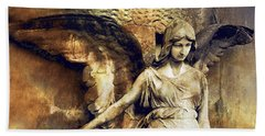 Angel Art - Surreal Gothic Angel Art Photography Dark Sepia Golden Impressionistic Angel Art Bath Towel by Kathy Fornal