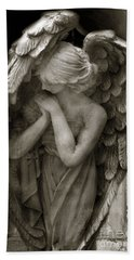 Angel Photography - Dreamy Spiritual Angel Art - Guardian Angel Art In Prayer  Hand Towel by Kathy Fornal