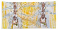 Hand Towel featuring the painting Angel Winds Flames Of Fire by Cassie Sears