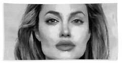 Bath Towel featuring the painting Angelina Jolie Black And White by Georgi Dimitrov