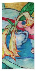 Hand Towel featuring the painting Angel's Trumpet Flowers And A Ukulele by Xueling Zou