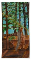 Hand Towel featuring the painting Angle In Idyllwild by Cassie Sears