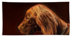 Hand Towel featuring the photograph Angus Irish Red Setter by Wallaroo Images