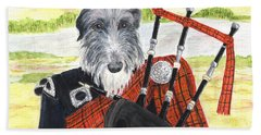 Angus The Piper Hand Towel by Stephanie Grant