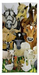 Animal Allsorts Oil On Canvas Hand Towel