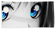 Anime Girl Eyes 2 Black And White Blue Eyes Hand Towel