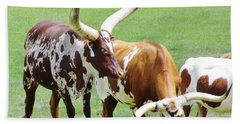 Ankole And Texas Longhorn Cattle Hand Towel