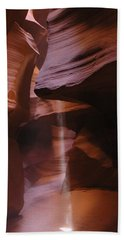 Hand Towel featuring the photograph Antelope Canyon With Light Beam by Alan Socolik