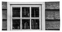 Hand Towel featuring the photograph Antique Carpenter's Tools In Window by Gary Slawsky
