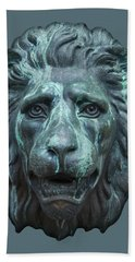 Antique Lion Face In Blue Bath Towel