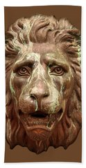 Antique Lion Face In Brown Bath Towel by Jane McIlroy