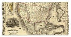 Antique North America Map Hand Towel