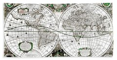 Antique World Map Poster Hand Towel