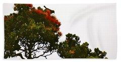 Apapane Atop An Orange Ohia Lehua Tree  Hand Towel