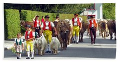 Appenzell Parade Of Cows Hand Towel