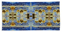 Bath Towel featuring the digital art Arches In Blue And Gold by Stephanie Grant