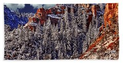 Arizona Secret Mountain Wilderness In Winter Hand Towel by Bob and Nadine Johnston