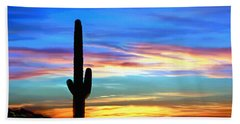 Arizona Sunset Saguaro National Park Bath Towel
