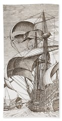 Armed Three-master On The Open Sea Hand Towel