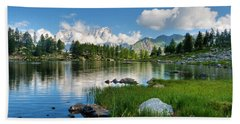 Arpy Lake - Aosta Valley Bath Towel by Antonio Scarpi
