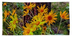 Bath Towel featuring the painting Arrowleaf Balsamroot by Omaste Witkowski