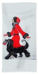 Art Deco  Girl With Red  Coat Hand Towel