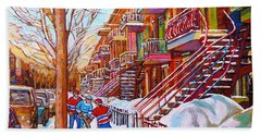 Art Of Montreal Staircases In Winter Street Hockey Game City Streetscenes By Carole Spandau Bath Towel