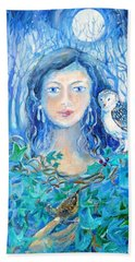 Hand Towel featuring the painting Artemis And The Wren- by Trudi Doyle