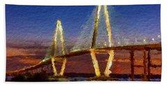 Arthur Ravenel Bridge At Evening  Bath Towel