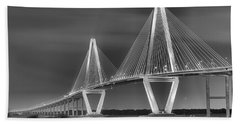 Arthur Ravenel Jr. Bridge In Black And White Hand Towel by Adam Jewell