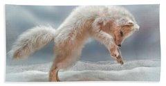 Artic White Wolf Bath Towel by Joan  Minchak