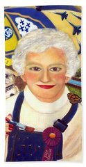 Hand Towel featuring the painting Artist At Work Portrait Of Mary Krupa by Bernadette Krupa
