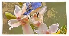 Bath Towel featuring the photograph Bluebird On Orchids Artistic Photo by Luana K Perez