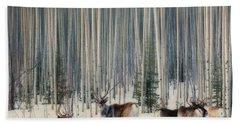 Caribou And Trees Bath Towel