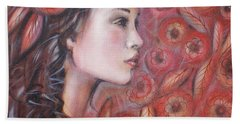 Hand Towel featuring the painting Asian Dream In Red Flowers 010809 by Selena Boron