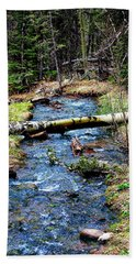 Hand Towel featuring the photograph Aspen Crossing Mountain Stream by Barbara Chichester