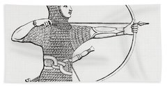 Assyrian Archer Wearing A Cuirass.  From The Imperial Bible Dictionary, Published 1889 Hand Towel