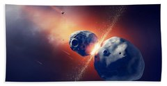 Asteroids Collide And Explode  In Space Hand Towel