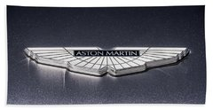 Bath Towel featuring the digital art Aston Martin Badge by Douglas Pittman
