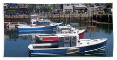 Colorful Boats Bath Towel by Eunice Miller