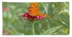 At Rest - Gulf Fritillary Butterfly Bath Towel