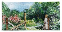 Hand Towel featuring the painting At The Gate Summer Landscape by Irina Sztukowski