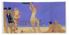 At The Lido Hand Towel by Georges Barbier